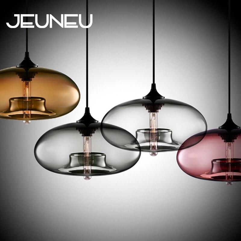 Nórdica moderna lámpara colgante para Loft 7 de vidrio de Color brillo decoración Industrial colgante luces accesorios E27/E26 para cocina restaurante