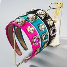 Fascia per capelli in cristallo colorato barocco per donna accessori per capelli da sposa in tessuto a forma di ape con perla simulata Vintage