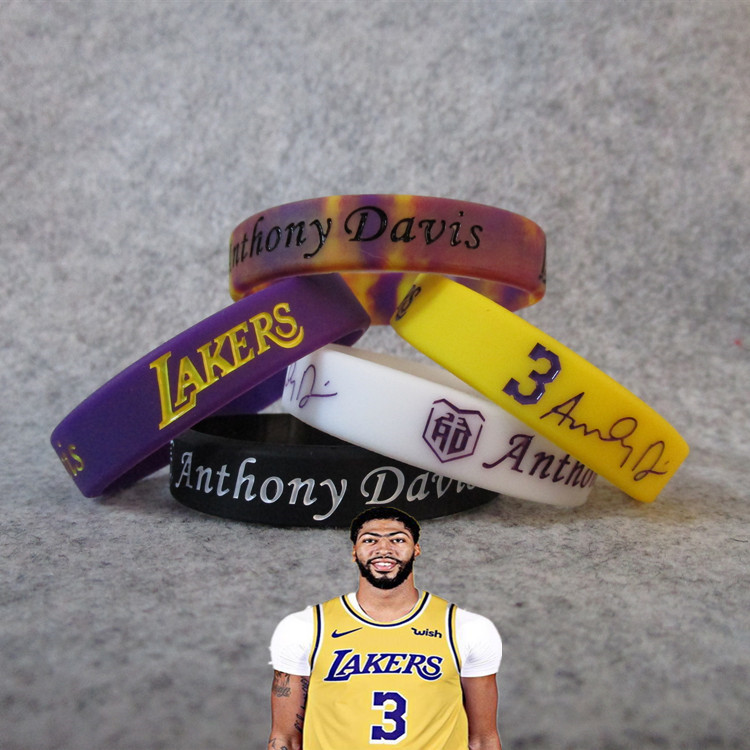 Lakers 3 Anthony. Davis Night Light Signature Bracelet Sports Silica Gel Thick Wrist Strap Fans Bag Products