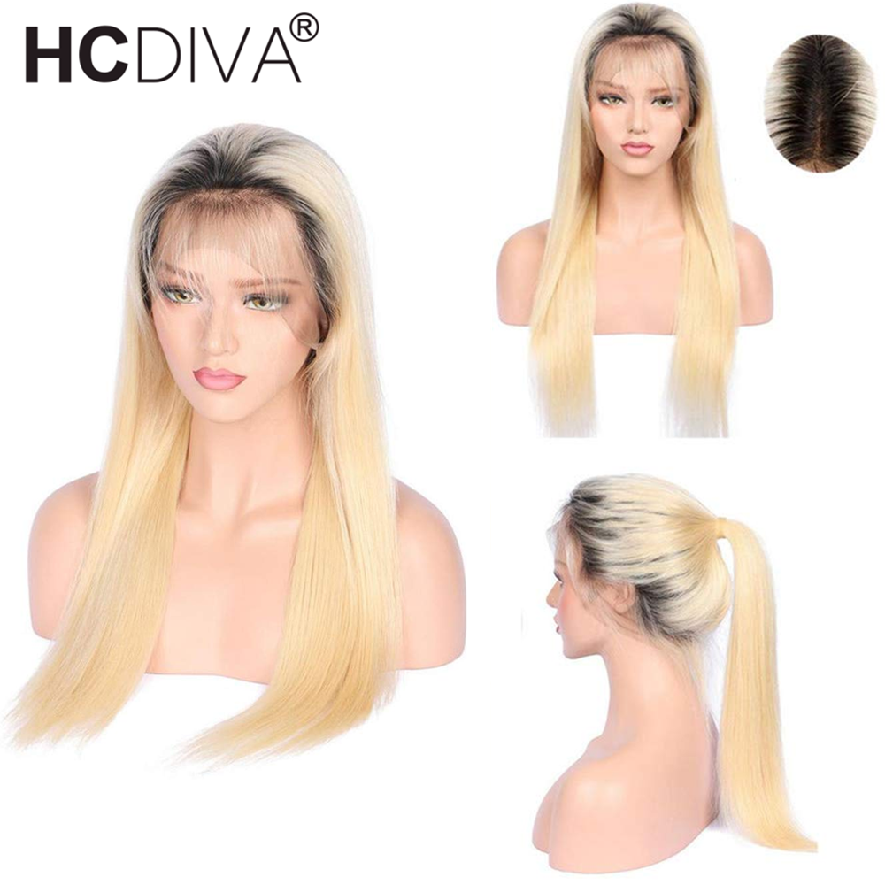 1B 613 Lace Wig Ombre Blonde Lace Front Wig Remy Brazilian Straight Wig Pre Plucked 13*4 Lace Front Human Hair Wigs For Women