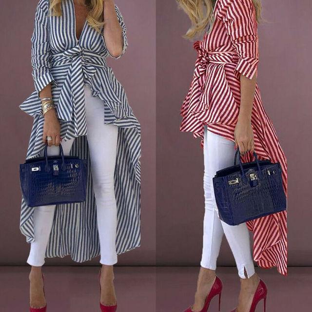 High Street Women Stripe Shirts Long Sleeve V-neck Loose Tops Blouse Striped Tied Front Dip Hem Shirt With Belt Long Shirts 2