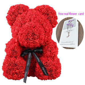 2019 Dropshipping 40cm Soap Foam Rose Teddy Bear Artificial Flower in Gift Box for girlfriend Christmas day Valentines Day Gifts(China)