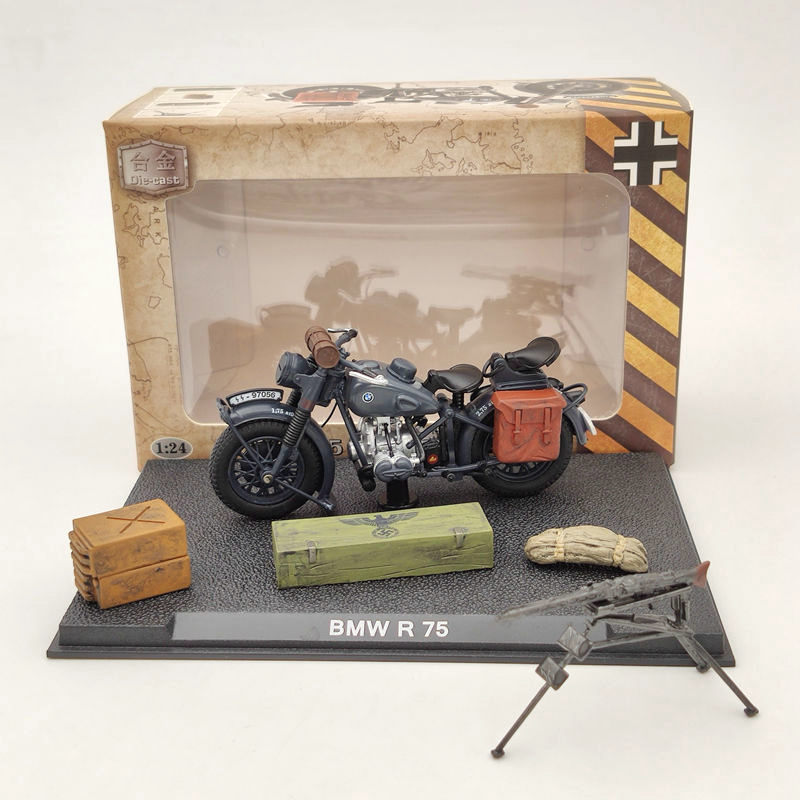 1:24 B~W R75 Motorcycle World War II 1939-1945 Black Diecast Model Collection Toys Gift