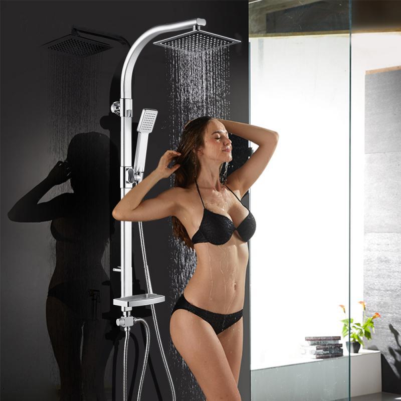 Hf36f971dc3f54981a61878b7e7472cb8F Aluminum Alloy Shower System Set Bathtub Thermostatic Shower Mixer With Hand Shower Soap Box Bathroom Faucets Shower Set HWC
