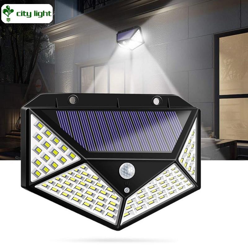 Solar Lights With 2200mAh Battery 100 LEDs Motion Sensor Security Yard Lighting Waterproof Outdoor Street Wireless Garden Lamps