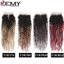 Fechamento encaracolado kinky 4x4 ombre cabelo humano suíço fechamento do laço livre/parte média fechamento do laço não remy cabelo humano brasileiro kemy