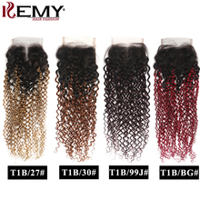 Kinky Curly Closure 4x4 Ombre Human Hair Swiss Lace Closure Free/Middle Part Lace Closure Non Remy Brazilian Human Hair KEMY