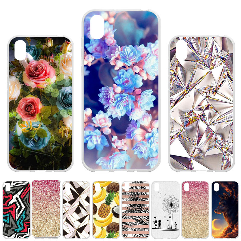 Soft TPU <font><b>Case</b></font> For <font><b>Huawei</b></font> Honor 8S <font><b>Cases</b></font> Silicone Bumper For <font><b>Huawei</b></font> <font><b>Y5</b></font> <font><b>2019</b></font> AMN-LX9 AMN-LX1 AMN-LX2 AMN-LX3 Covers Flower Fundas image