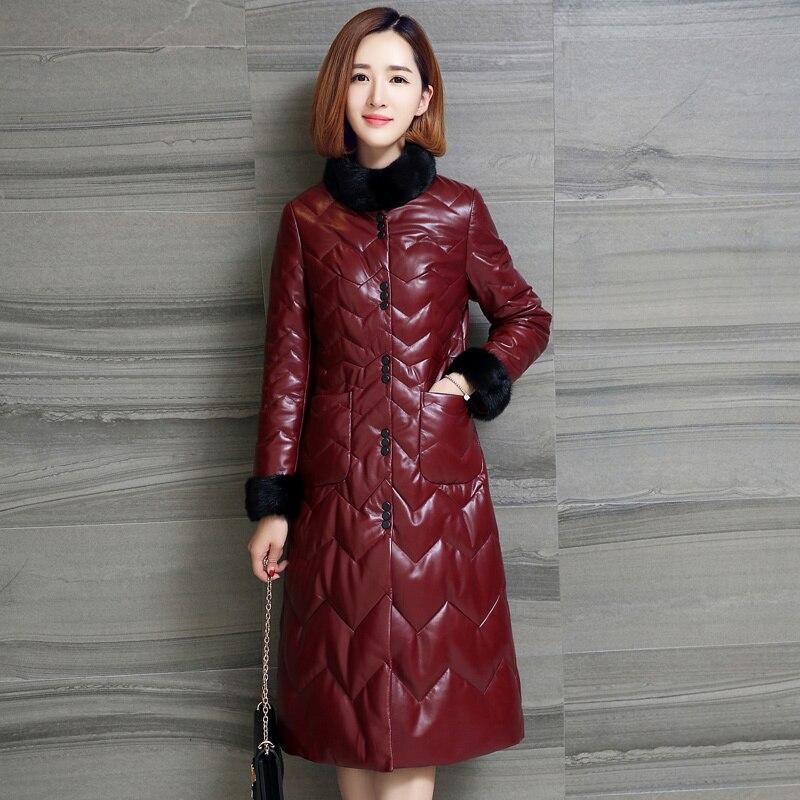 Jacket Leather Genuine Mink Fur Collar Down Jacket 2020 Winter Jacket Women 100% Sheepskin Coat Female Long Coats MY3749 S