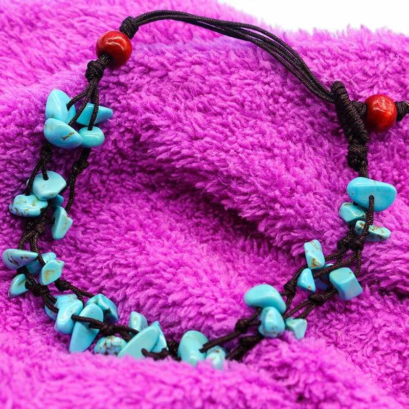 女性ボヘミアン足首のブレスレット自由奔放に生きるブルーストーン調整手ニットアンクレット女性の宝石類のギフト