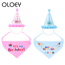 2Pcs/set Pet Dogs Birthday Hat With Scarf Cat Dog Costume Design Headwear Christmas Party Decoration Accessorie
