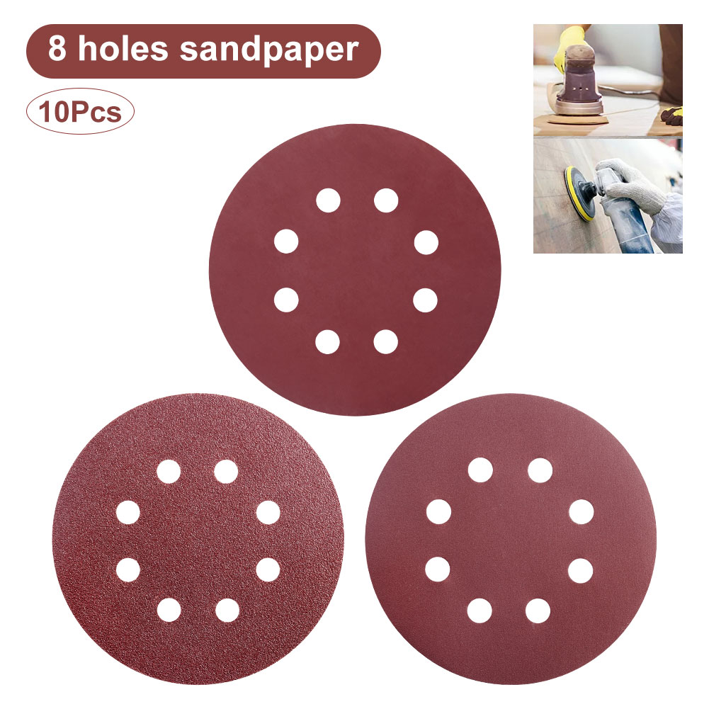 10pcs 125mm 60 80 100 120 240 320 1500 2000 Grit Round Shape Sanding Discs Buffing Sheet Sandpaper 8 Hole Sander Polishing Pad