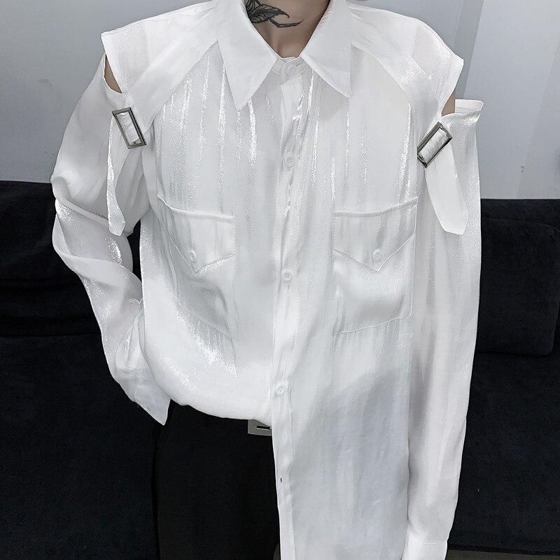 EWQ / men's wear Niche hollow strapless polarized shirt mercerized glitter shirt loose high street 2020 autumn new tops 9Y1470