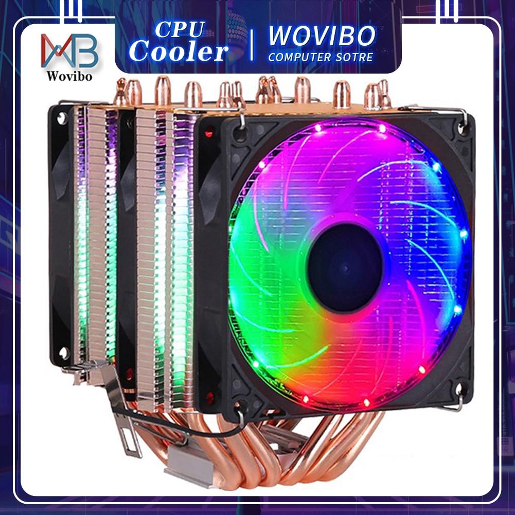 6 Heatpipes RGB CPU Cooler Radiator Silent PWM 4PIN 130W For Intel LGA 1150 1151 1155 1200 1366 2011 X79 X99 AM3 AM4 Ventilador 1