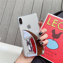 Cat mouse shark cartoon for iphone x xr xsmax 6 6s 7 8 plus cover anti-fall airbags soft protective shockproof case