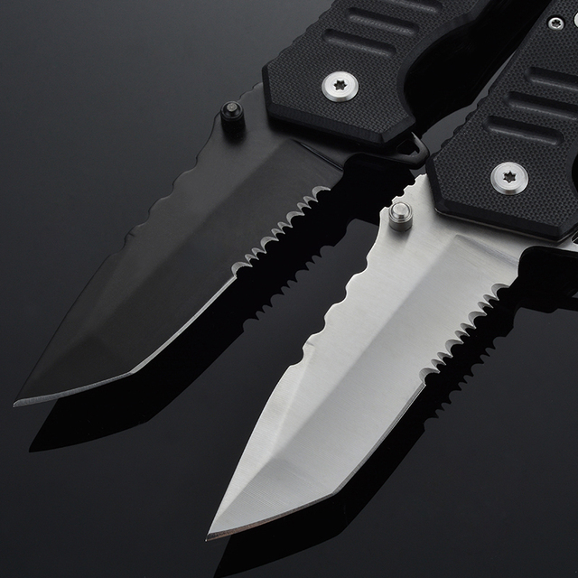 Folding Knife Outdoor Survival Tactical Knife Combat Stainless Steel Blade G10 Handle Camping Hunting Pocket Knives EDC Tool 2