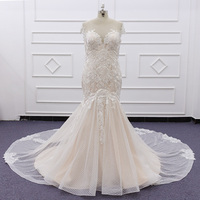 SJ211 pink custom made real photo robe de mariage Luxury Sexy Fit and Flare Lace Mermaid Wedding Dresses