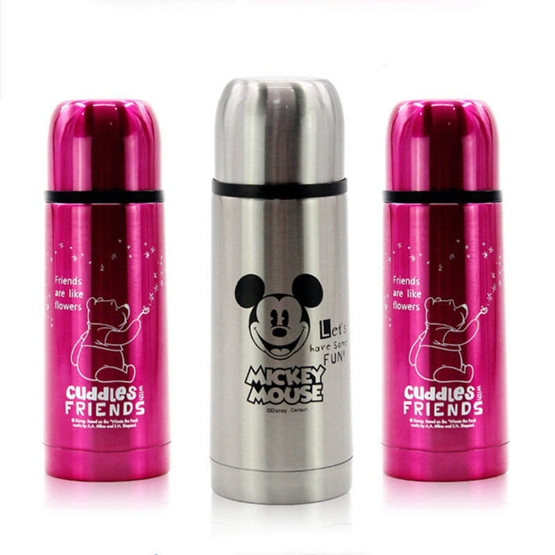 Disney Mickey Pooh Cartoon Baby Cup 304 Stainless Steel Insulation Thermos Bottle Portable Bullet Water Mug With Cover Straw Cup
