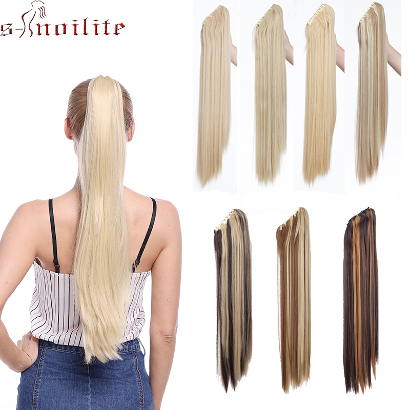 S-noilite Long Straight Ponytail Claw Clip In Hair Extensions High Temperature Fiber Fake Hair Synthetic Pony Tail Women Hair