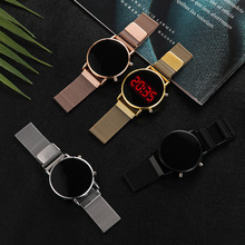 Luksusowe różowe złoto cyfrowe czerwone LED zegarki tarczowe dla kobiet pas ze stali nierdzewnej kwarcowy zegarek panie magnes zegar Drop Ship tanie tanio Cyfrowy NONE CN (pochodzenie) STOP bez wodoodporności Moda casual 16mm ROUND Szkło 29cm bez opakowania 39mm
