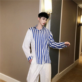 Men Long Sleeve Multi Ribbon Splice Casual Striped Shirt Male Streetwear Hip Hop Fashion Party Stage Show Clothes Shirts