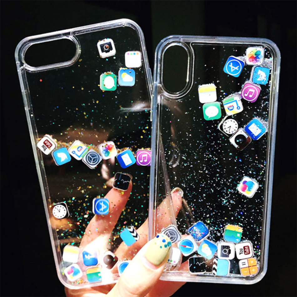 Quicksand Cover Cute APP icon Case For iPhone X XR XS MAX For iPhone 11 Pro 6 7 8 Plus Luxury Dynamic Liquid Glitter Phone Case image