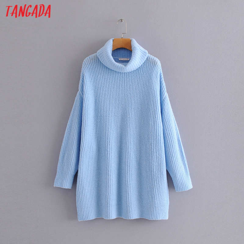 Tangada women jumpers turtleneck sweaters oversize winter fashion 19 long sweater coat batwing sleeve christmas sweate HY135 13