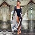 2021 schwarz Kaftan Boho Gedruckt Chiffon Bikini Abdeckung-ups Plus Größe Strand Tragen Kimono Kleid Frauen Sommer Badeanzug Abdeckung up A796