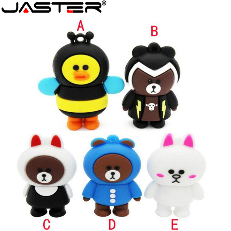 JASTER Cartoon Bear Model Usb Flash Drive Animal Pendrive 4GB 8GB 16GB 32GB 64GB Memory Stick Flash Card U Disk Lovely Gifts