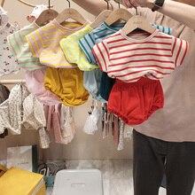 MILANCEL/комплект одежды для малышей в Корейском стиле; Одежда для маленьких мальчиков; Полосатая футболка и штаны; Комплект из 2 предметов; Одеж...