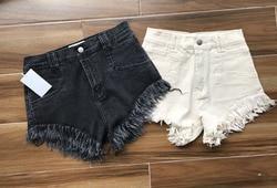 Spring and Summer New Super Elastic  Tassels  Burr  Dark Grey Denim Shorts Women's Wrap Hip Denim Short 2 Colors