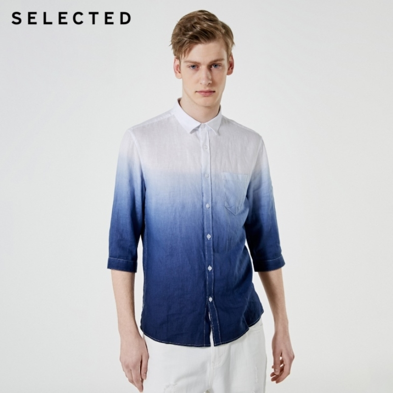 SELECTED Men's Linen Gradient Business Cropped 3/4 Sleeves Shirt S|419231516