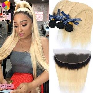 Remyblue Ombre 1B 613 zestawy z zamknięciem Frontal 13*4 miód blond brazylijski proste włosy pakiet z zamknięciem Remy ludzkie włosy