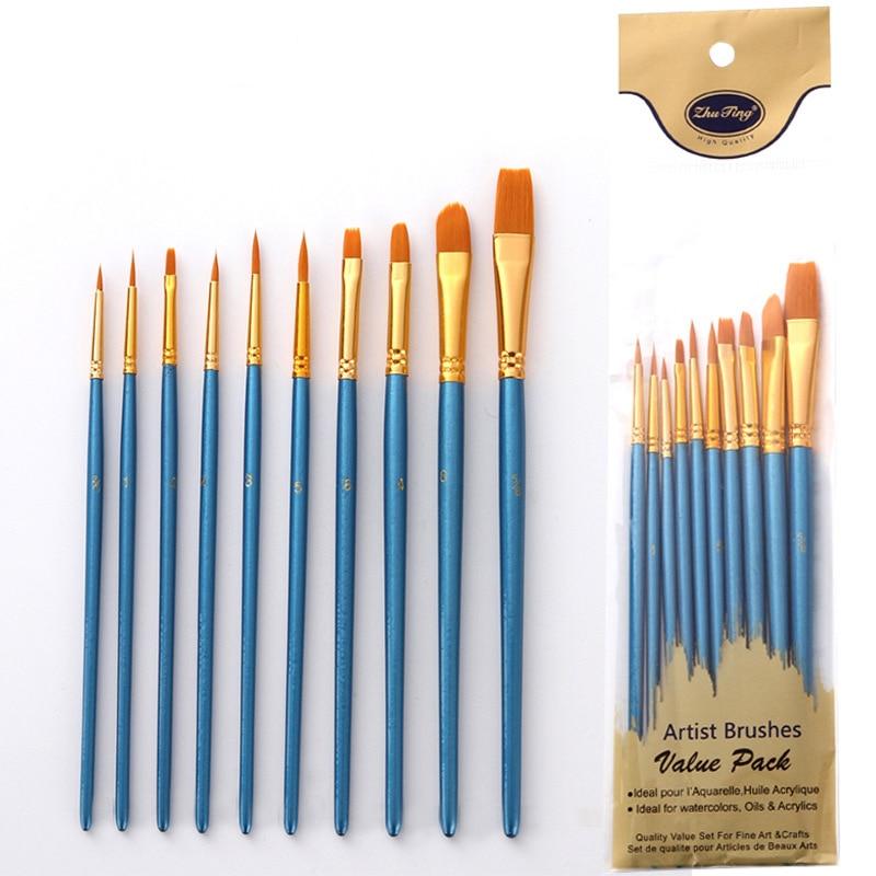 10Pcs/set Nylon Artist Paint Brush Professional Watercolor Acrylic Wooden Handle Painting Brushes Art Supplies Stationery
