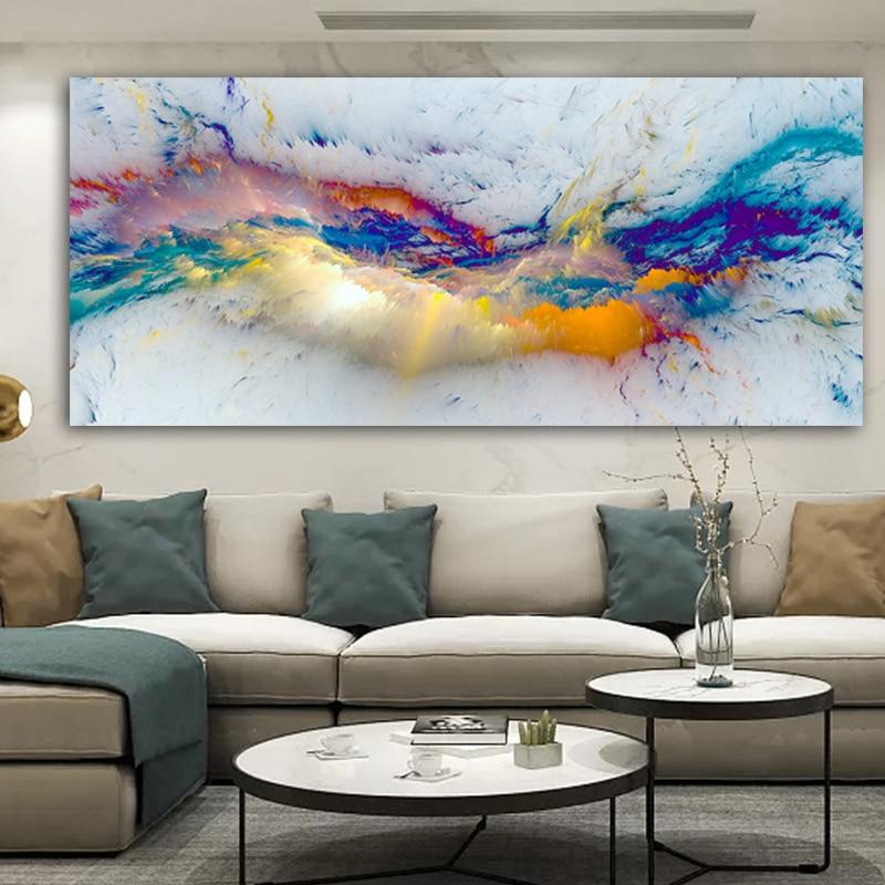 Ddhh nuvens coloridas abstrato pintura a óleo pense independe parede imagem para sala de estar lona arte moderna cartaz e impressão