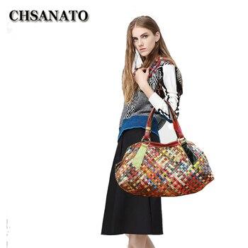 CHSANATO  Unique Stylish Woven Knitting Genuine Leather Ladies Tote Bags Designer Handbags High Quality Colorful Purses