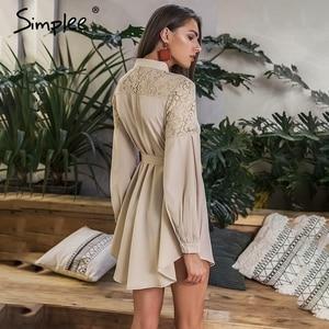 Image 2 - Летнее женское платье рубашка Simplee, элегантное однотонное офисное сетчатое платье трапециевидной формы с вышивкой и поясом, с длинными рукавами, с пуговицами
