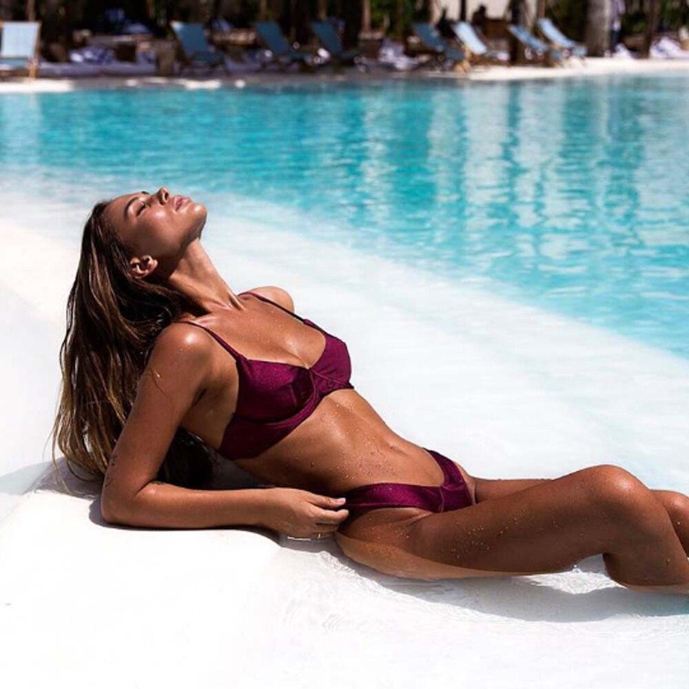 2020 Women's Swimming Suit Solid Color Underwire Bikini Explosion Split Bikini Swimsuit Lady Swimwear Mujer