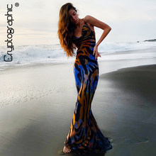 Cryptographique Spaghetti sangle femmes Slip robe imprimé fleuri Sexy dos nu Maxi robes soirée Club plage longue robe automne 2020