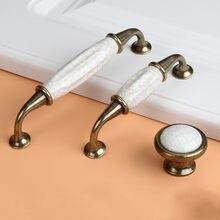 Antique Crack Design Wardrobe Door Knobs Handles Marble Ceramic Cabinet Drawer Knobs European Style Furniture Hardware