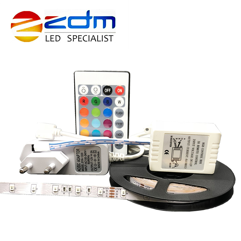 DC 12V 5m 3528 LED Strip Light RGB Tape Diode 300leds+24key IR Remote Controller White/Warm White/Bule/Red/Green Bande +adapter