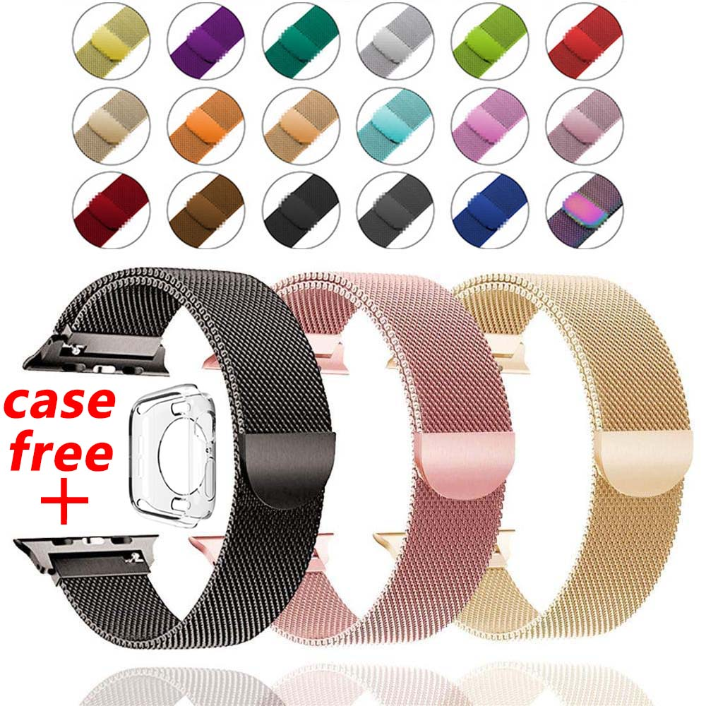 Band For Apple Watch 4 1/2/3 Milanese Loop Stainless Steel 42mm 38mm Bracelet Strap For Iwatch Series 40mm 44mm Case For Free