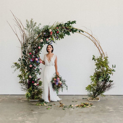Fondo de anillo redondo de boda al aire libre doble arco de pie arco decoración para fiesta de boda escenario de fondo círculo arco puerta