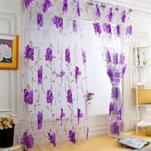 1PC 200*100cm Flower Window Gauze Curtain Decor Home Door Drape Sheet Tansparent Floral Window Tulle Lovely Window Blinds #B30(China)