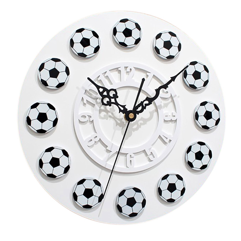 New Creative Wall Watch Football Pattern Wall Watch Needle Decoration Wall Clocks For Living Room Noval Hanging Clocks For Kid