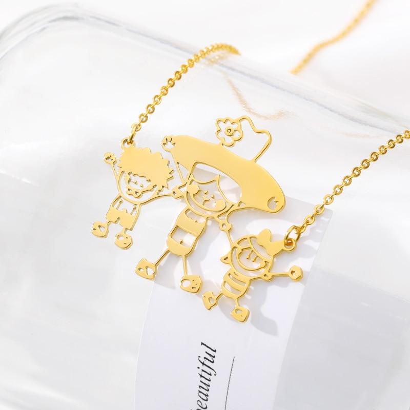 Benutzerdefinierte Kinder Zeichnung Halskette Personalisierte Kinder Kunstwerk Halskette Edelstahl Gold Splitter Kette für Mama Oma Geschenk