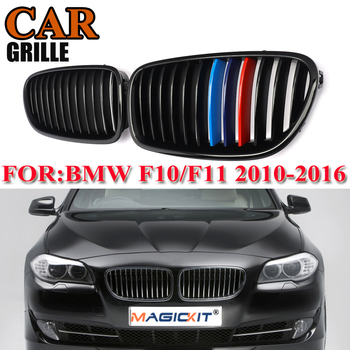 MagicKit Pair Gloss Black Kidney Grill Racing Grille Dual Line For BMW F10 F11 F18 528i 535i 5 Series M5 10-16 Front Grill M Col