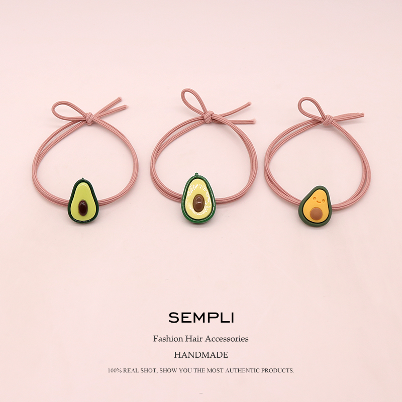Sempli 21 Kinds Elastic Hair Bands Fruit Rubber Bands For Women's Girls Cute Green Avocado Baby Headwear Hair Accessories