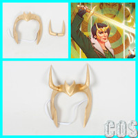 Loki Agent of Asgard Cosplay Gold Handmade Mask With Horns