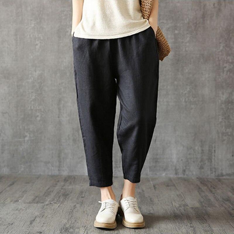 Puimentiua 2019 Retro Cotton Linen Pants Womens Plus Size Spring Autumn Nine pants Loose Capris Trousers Pockets Solid Pants